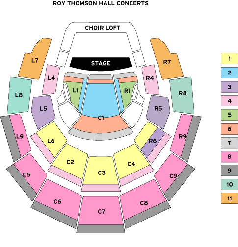 Roy Thomson Hall seating map